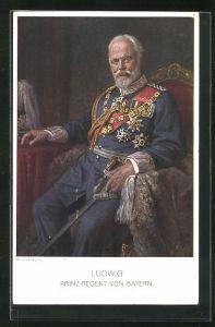 AK König Ludwig III. in Unifomr mit Orden und Säbel sitzend