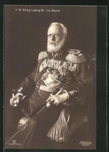AK König Ludwig III., seine Majestät König Ludwig III. von BAyern in Uniform mit vielen Orden und Säbel