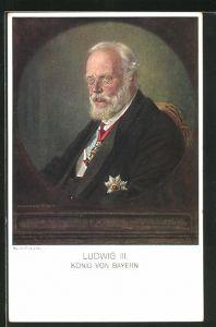 AK König Ludwig III., in Anzug mit Orden