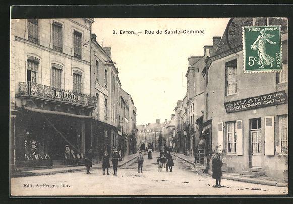 AK Evron, Rue de Sainte-Gemmes, Strassenpartie
