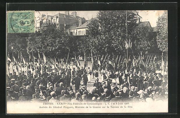 AK Troyes, XXXIVe Fete Fédérale de Gymnastique 1908, Arrivée du Général Picquart sur le Terrain de la Fete