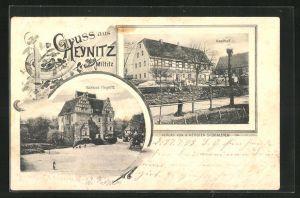 AK Heynitz, Blick zum Gasthof, Ansicht vom Schloss