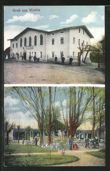 AK Wurbis, Gasthof zu Wurbis mit Konzert-Garten