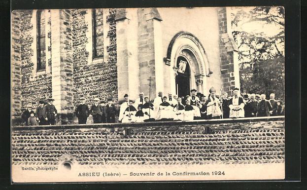 AK Assieu, Souvenir de la Confirmation 1924