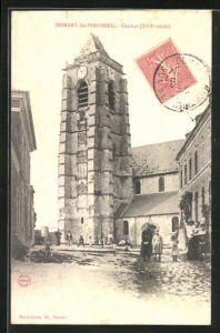 AK Domart-les-Ponthieu, Clocher, Strassenpartie am Glockenturm