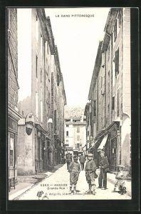 AK Anduze, Grande Rue, Strassenpartie