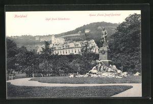 AK Karlsbad, Cafe Park Schönbrunn und Kaiser Franz Josef-Denkmal