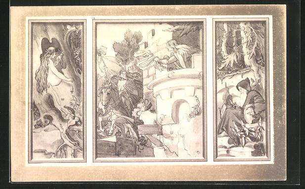 Künstler-AK Moritz von Schwind: Szenen aus dem Märchen Rapunzel