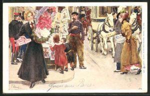 Künstler-AK Franz Skarbina: Dame mit Geschenk und einem Blumenkorb auf der Strasse