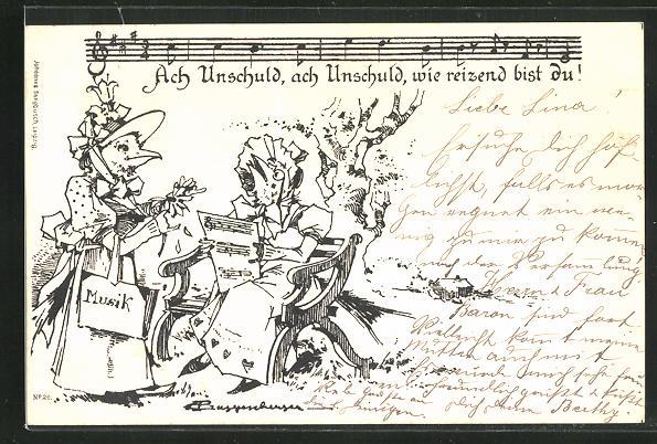 Künstler-AK Theodor Guggenberger: Ach Unschuld, wie reizend bist Du!, Singende Vogeldamen, vermenschlichte Tiere