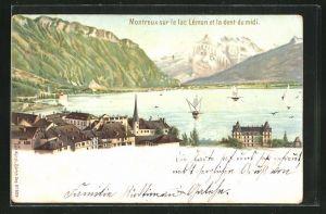 Lithographie Künzli BNr. 5019: Montreux, sur le Lac Léman et la dent du midi, Berg mit Gesicht / Berggesichter