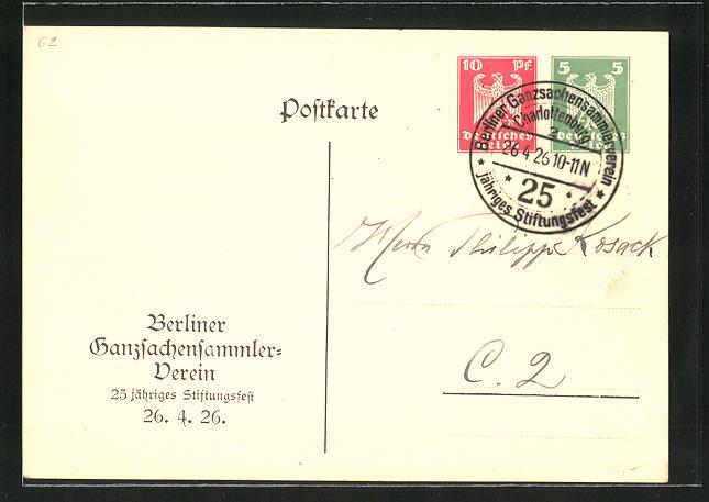 AK Berlin, 25. jähr. Stiftungsfest vom Ganzsachensammlerverein 1926, Ganzsache PP86 C1 /01
