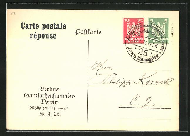 AK Berlin, Ganzsachensammlerverein - 25. jähr. Stiftungsfest 1926, Ganzsache PP86 C1 /02