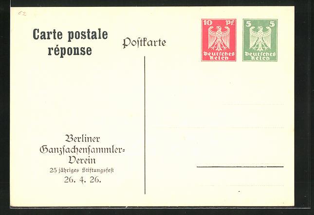 AK Berlin, Ganzsachensammlerverein, 25. jähr. Stiftungsfest 26.4.1926, Ganzsache PP86 C1 /02