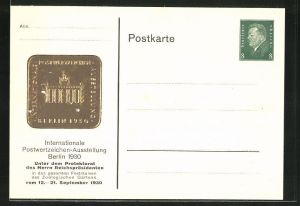 Präge-AK Berlin, Intern. Postwertzeichen-Ausstellung 1930, Ganzsache PP113 C10 /06