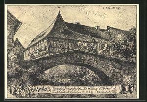Künstler-AK Ganzsache PP122C99: Suhl, Thüringische Postwertzeichen-Ausstellung 1938, Alte Brücke mit Postkutsche