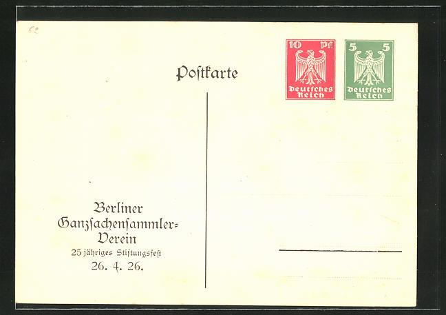 AK Ganzsache PP86C1 /01: Berlin, Berliner Ganzsachensammler-Verein, 25 jähriges Stiftungsfest 1926
