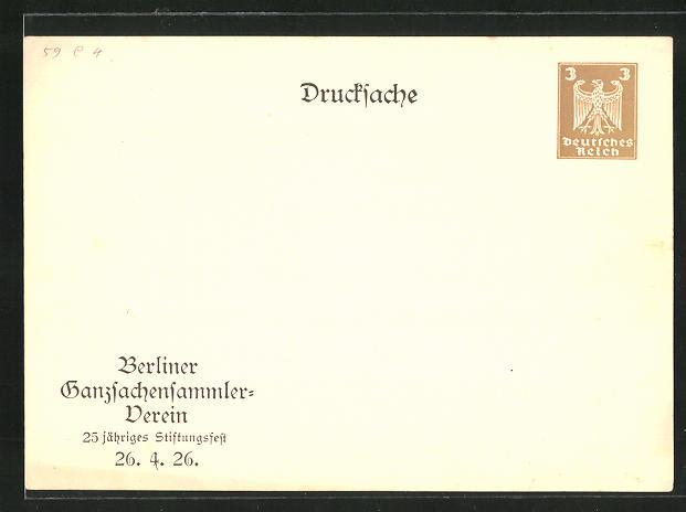 AK Ganzsache PP77C5: Berlin, Berliner Ganzsachensammler-Verein, 25 jähriges Stiftungsfest 1926