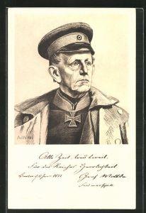 Künstler-AK Ganzsache Bayern PP38D1 /03: Generalfeldmarschall Graf Moltke in Uniform, Reichseinigungskriege