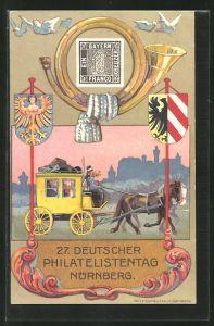 Künstler-AK Nürnberg, Postkutsche, 27. Deutscher Philatelistentag, Wappen, Ganzsache