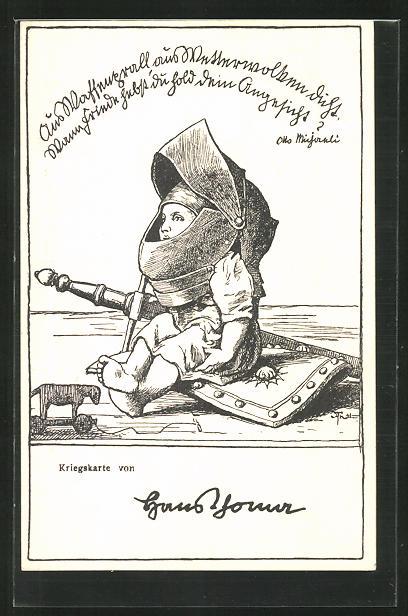 Künstler-AK Hans Thoma: kleines Kind mit übergrossem Helm und Schwert auf Schild sitzend