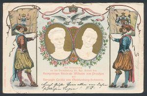 Präge-AK Ganzsache PP27D7: Vermählung des Kronprinzen Friedrich Wilhelm von Preussen mit Herzogin Cecilie