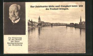 AK Ganzsache PP88D4 /01: Frankfurt a. M., Besuch des Reichspräsidenten Paul von Hindenburg, Panorama mit Mainbrücke
