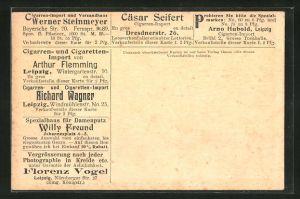 AK Ganzsache PP27G11 /02: Leipzig, Cigarren- und Cigaretten-Import von Arthur Flemming, Wintergartenstrasse 10