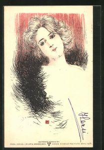 Künstler-AK Philipp + Kramer Serie IV /3, sign. Kainradl: Schöne Frau mit offenem Haar und Federboa