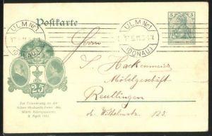 AK Portraits des Württ. Königspaares, Erinnerung Silber-Hochzeits-Feier des Württ. Königspaares 1911, Ganzsache