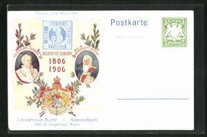 AK Portraits Prinzregent Luitpold u. Maximilian-Joseph, Regierungs-Jubiläum 1806-1906, Ganzsache Bayern