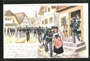 Lithographie Schweizer Armee, Soldat verabschiedet sich von der Liebsten