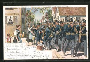 Lithographie Schweizer Armee, Soldaten werden an einem heissen Tag verpflegt