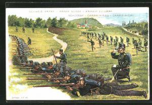 Lithographie Schweizer Armee, Schützen in Stellung