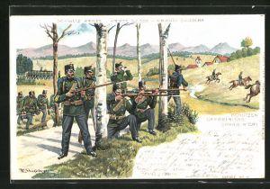 Lithographie Schweizer Armee, Schützen schlagen feindliche Kavallerie zurück