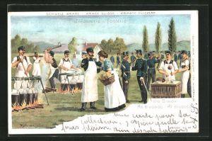 Lithographie Schweizer Armee, Soldaten im Biwak