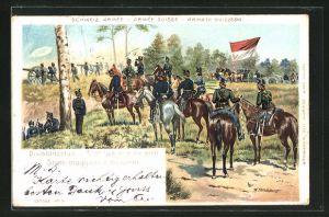Lithographie Schweizer Armee, Divisionsstab auf Beobachtungsposten