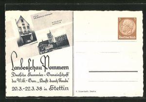 AK Ganzsache 3 Pf.: Stettin, KdF-Landesschau Pommern 1938, Rathaus in Stralsund