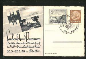 AK Ganzsache 3 Pf.: Stettin, KdF-Landesschau Pommern 1938, Hakenterrasse, Mühlentor in Stargard