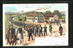Lithographie Schweizer Armee, Infanterie auf dem Marsch