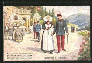 Künstler-AK sign. R. Weiss: Helvetia, Schweizer Krankenschwestern begleiten Soldaten in Uniformen