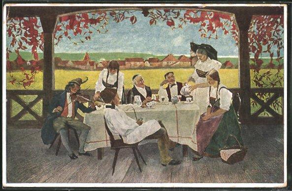 Künstler-AK sign. C. Spindler: Freund Fritz, Bürgersleute beim Tee auf der Veranda