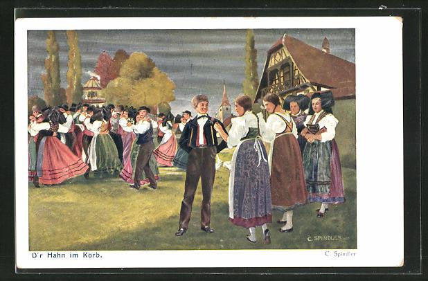 Künstler-AK sign. C. Spindler: D`r Hahn im Korb, Bürgersleute beim Tanz