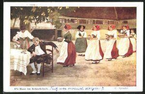Künstler-AK sign. C. Spindler: D`r Hans im Schnokeloch, junge Mädchen in Tracht bedienen einen Herrn