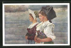 Künstler-AK sign. C. Spindler: Ober-Elsass und Unter-Elsass
