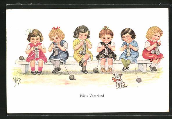 Künstler-AK Willi Scheuermann: Für`s Vaterland, Mädchen stricken auf einer Bank