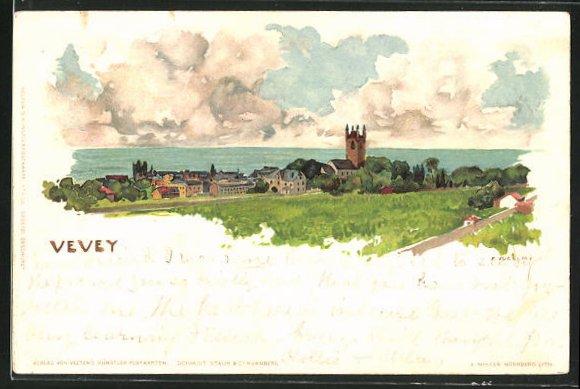 Künstler-AK Fritz Voellmy: Vevey, Ortsansicht mit Kirche und See