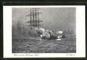 AK Hamburg, Postwertzeichen-Ausstellung 1925, Ganzsache PP81C8, Segelschiff und Schlepper im Hafen