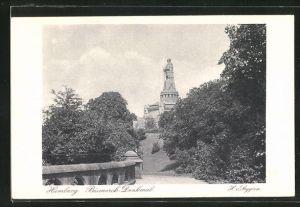 AK Hamburg, Postwertzeichen-Ausstellung 1925, Ganzsache PP81C8, Bismarck-Denkmal