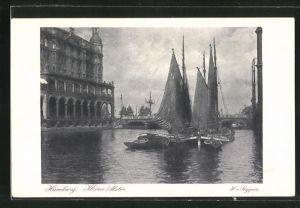 AK Hamburg, Postwertzeichen-Ausstellung 1925, Ganzsache PP81C8, Boote auf der Kleinen Alster